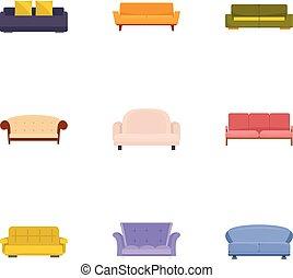 estilo, iconos, conjunto, sofá, cama, caricatura