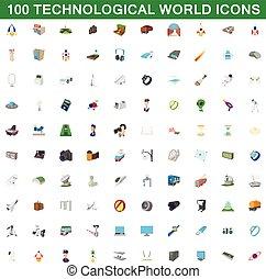 estilo, iconos, conjunto, tecnológico, mundo, 100, caricatura