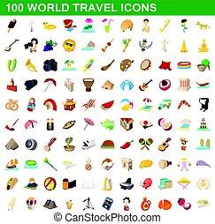 estilo, iconos, conjunto, viaje, mundo, 100, caricatura