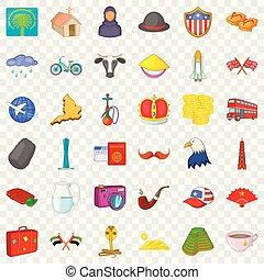 estilo, iconos, conjunto, viaje, mundo, caricatura