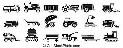 estilo, iconos, granja, simple, conjunto, agrícola, máquinas