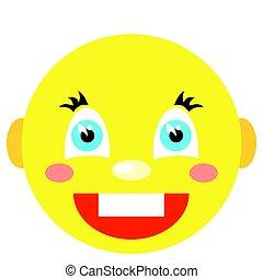 estilo, iconos, imagen, smiley, fondo., vector, laughs., blanco, caricatura