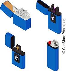 estilo, iconos, isométrico, encendedor, cigarrillo, conjunto