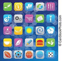 estilo, iconos, móvil, app, ios, vario, 7