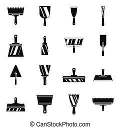 estilo, iconos, masilla, conjunto, herramienta, cuchillo, simple