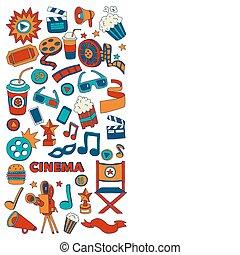estilo, iconos, patrón, cine, mano, vector, garabato, dibujado