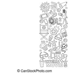 estilo, iconos, patrón, cine, mano, vector, garabato, ...
