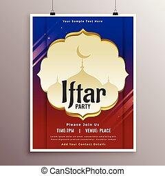 estilo, iftar, diseño, invitación, fiesta, árabe, tarjeta