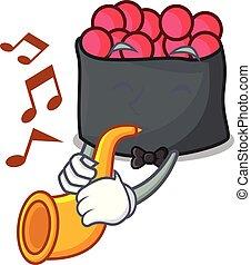 estilo, ikura, trompete, caricatura, mascote