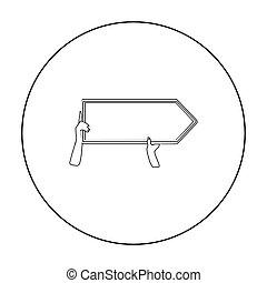 estilo, illustration., ícone, direcional, símbolo, isolado, experiência., vetorial, anunciando, billboard, branca, estoque, esboço