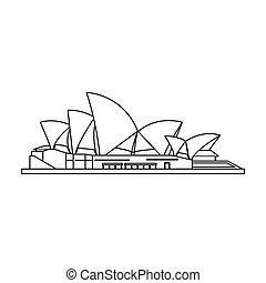 estilo, illustration., ícone, países, casa ópera, símbolo, isolado, experiência., vetorial, sydney, branca, estoque, esboço