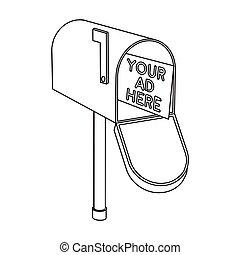 estilo, illustration., ícone, símbolo, isolado, experiência., vetorial, anunciando, correio, branca, estoque, esboço