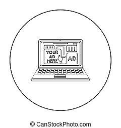 estilo, illustration., ícone, símbolo, isolado, experiência., vetorial, anunciando, online, branca, estoque, esboço