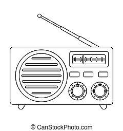 estilo, illustration., ícone, símbolo, isolado, experiência., vetorial, rádio, anunciando, branca, estoque, esboço