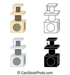 estilo, illustration., casa, símbolo, isolado, gato, experiência., vetorial, branca, ícone, caricatura, estoque