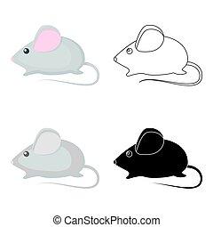 estilo, illustration., casa, símbolo, isolado, gato, experiência., vetorial, branca, ícone, rato, caricatura, estoque