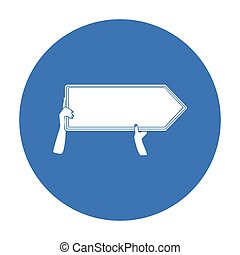 estilo, illustration., direcional, símbolo, isolado, experiência., vetorial, pretas, anunciando, billboard, branca, ícone, estoque