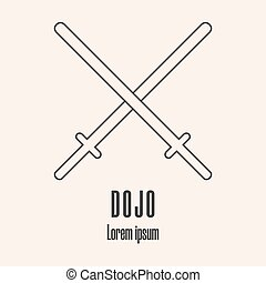 estilo, illustration., moderno, dojo, vector, limpio, swords...