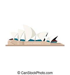 estilo, illustration., países, casa ópera, símbolo, isolado, experiência., vetorial, sydney, branca, ícone, caricatura, estoque