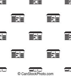 estilo, illustration., padrão, isolado, experiência., vetorial, pretas, logistic, armazém, branca, ícone, estoque