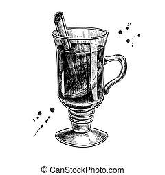 estilo, illustration., reflexionó, mano, vector, chris, dibujado, grabado, vino