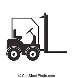 estilo, illustration., símbolo, forklift, isolado, experiência., vetorial, pretas, logistic, branca, ícone, estoque
