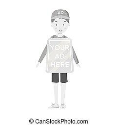 estilo, illustration., símbolo, isolado, experiência., vetorial, anunciando, human, billboard, monocromático, branca, ícone, estoque
