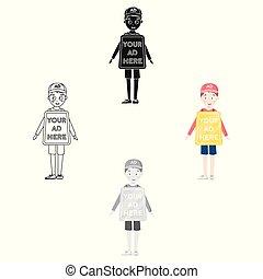 estilo, illustration., símbolo, isolado, experiência., vetorial, anunciando, human, billboard, branca, ícone, caricatura, estoque