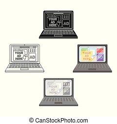 estilo, illustration., símbolo, isolado, experiência., vetorial, anunciando, online, branca, ícone, caricatura, estoque
