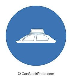 estilo, illustration., símbolo, isolado, experiência., vetorial, pretas, anunciando, branca, ícone, transporte, estoque