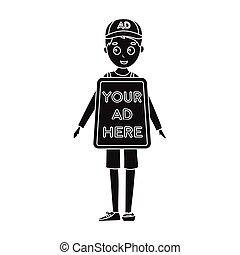 estilo, illustration., símbolo, isolado, experiência., vetorial, pretas, anunciando, human, billboard, branca, ícone, estoque