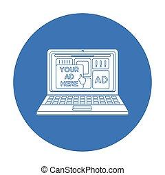 estilo, illustration., símbolo, isolado, experiência., vetorial, pretas, anunciando, online, branca, ícone, estoque
