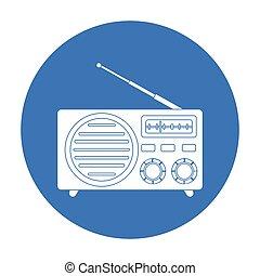 estilo, illustration., símbolo, isolado, experiência., vetorial, pretas, anunciando, rádio, branca, ícone, estoque