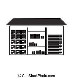 estilo, illustration., símbolo, isolado, experiência., vetorial, pretas, logistic, armazém, branca, ícone, estoque