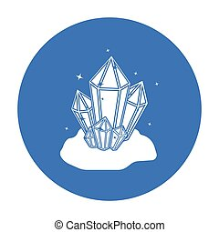 estilo, illustration., símbolo, mina, isolado, experiência., vetorial, pretas, cristais, branca, ícone, estoque