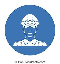 estilo, illustration., símbolo, mineiro, mina, isolado, experiência., vetorial, pretas, branca, ícone, estoque