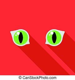 estilo, Ilustração, ícone, isolado, Símbolo, olhos,  flate, fundo, vetorial, branca, gato, estoque