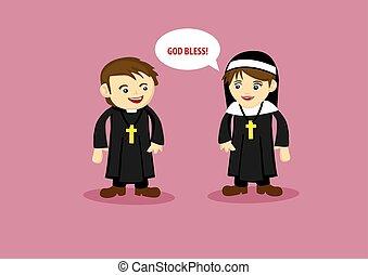 estilo, ilustração, cute, diz, caricatura, abençoar, padre, deus, freira
