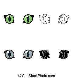 estilo, Ilustração, isolado, Símbolo, olhos, gato, fundo, vetorial, branca, ícone, caricatura, estoque