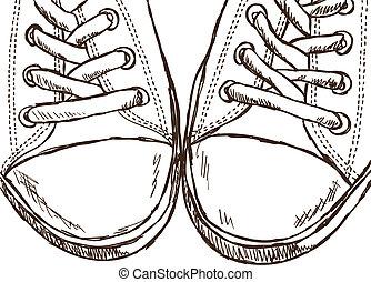 estilo, -, ilustração, mão, sneakers, desenhado