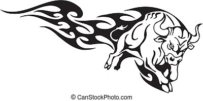 estilo, image., tribal, -, vector, toro