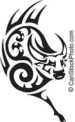 estilo, image., tribal, -, vetorial, touro