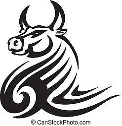 estilo, imagem,  tribal,  -, vetorial, touro