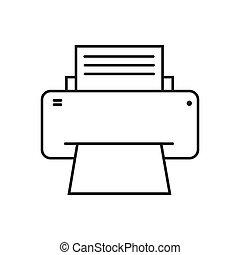 estilo, imagen, simple, icono, plano, fax