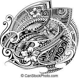 estilo, impresión, ornamento, o, polynesian, tela, diseño