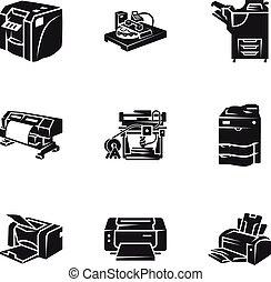 estilo, impresora, laser, conjunto, simple, icono
