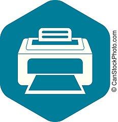 estilo, impressora, laser, simples, modernos, ícone
