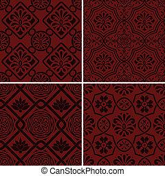 estilo, indio, seamless, patrones, vector, floral