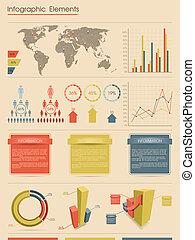 estilo, infographic, retro, elements.