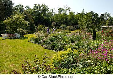 estilo, inglés, atractivo, jardín, formal